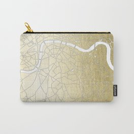 Gold on White London Street Map II Carry-All Pouch