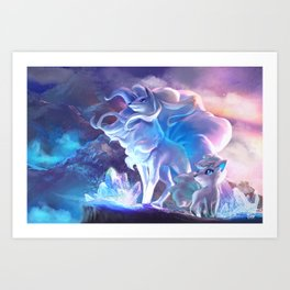 Alolan Ninetales  and Vulpix Art Print