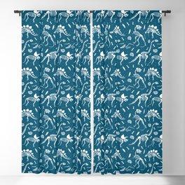 Dinosaur Fossils in Blue Blackout Curtain