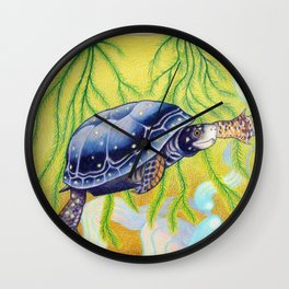 Swimming Spotted Turtle, Turtle Art Wall Clock