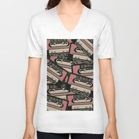 cassette V-neck T-shirts featuring Broken Cassette by Sophie Bland