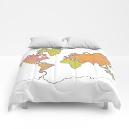Contour Map of the World Comforters