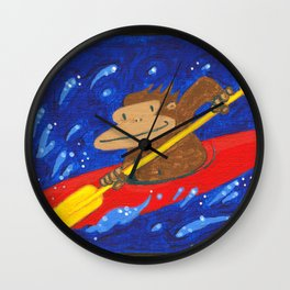 Kayak Ape on Blue Wall Clock