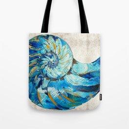 Tropical Blue Beach Art - Nautilus Shell Bleu 2 - Sharon Cummings Tote Bag