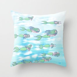 Mermaids dream by day Throw Pillow