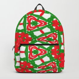 Red, Green and White Kaleidoscope 3372 Backpack