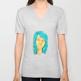 Blue Haired Girl Unisex V-Neck