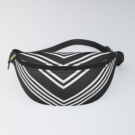 Back and White Lines Minimal Pattern No.3 Fanny Pack