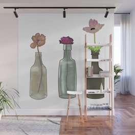 Flowers in Glass Bottles . Pastel Colors Wall Mural