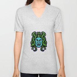 Medusa Greek God Mascot Unisex V-Neck