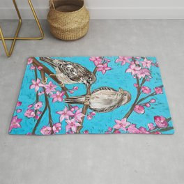 Spring Sparrows and Cherry Blossoms Rug