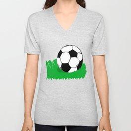 Soccer Ball In Grass Printmaking Art Unisex V-Neck