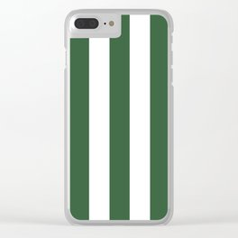Hunter green - solid color - white vertical lines pattern Clear iPhone Case