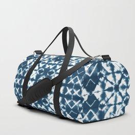 Tie dye, Shibori, indigo, chevron print Duffle Bag