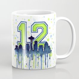 Seattle 12th Man Art Skyline Watercolor Coffee Mug