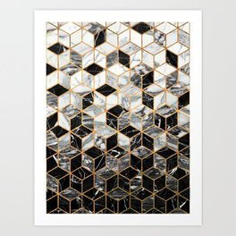 Marble Cubes - Black and White Art Print