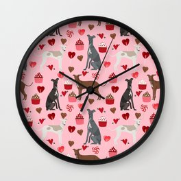 Italian greyhound love cupcakes valentines day dog breed gifts Wall Clock
