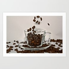 Falling Coffee Beans Art Print