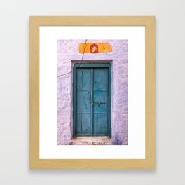 Antique Purple Door at Fort in Jaisalmer Rajasthan India Framed Art Print