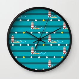 Seamless pattern with colorful  sea Wall Clock