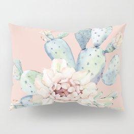 Sweet Pink Rose Desert Cactus Pillow Sham