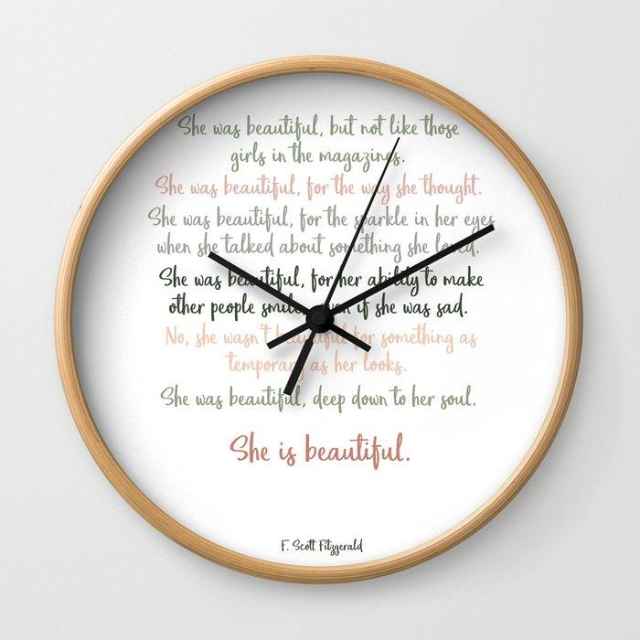 She Was Beautiful By F. Scott Fitzgerald 3 #minimalism #poem Wall Clock