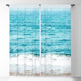 Teal Ocean Wave Photography Blackout Curtain
