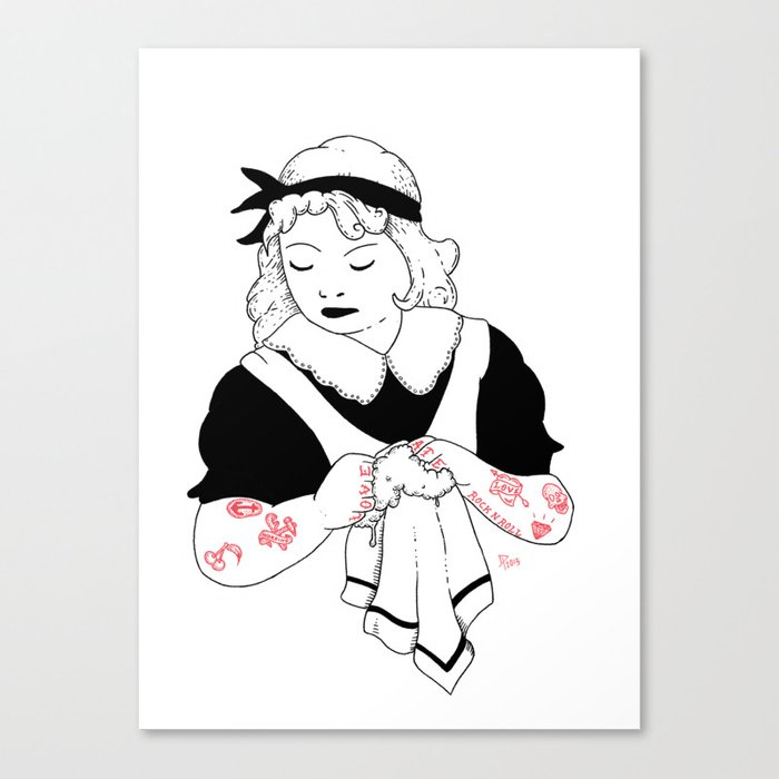 beautiful washerwomen Canvas Print