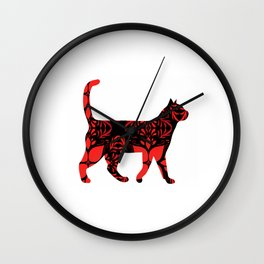 Red flower cat Wall Clock
