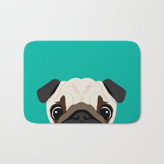 Peeking Pug Bath Mat