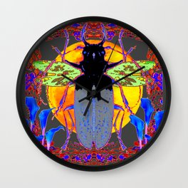 MYSTIC BLACK  BEETLE BLUE CALLA LILIES MOON ART Wall Clock