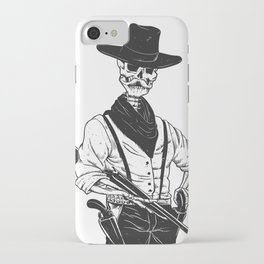 Sheriff with mustache and rifle iPhone Case