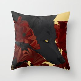 Wolf and Poppies Throw Pillow