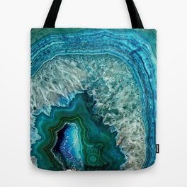 Aqua turquoise agate mineral gem stone - Beautiful Backdrop Tote Bag