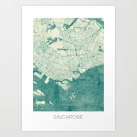 singapore Art Prints featuring Singapore Map Blue Vintage by City Art Posters