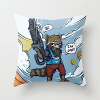 rocket raccoon Throw Pillows featuring Rocket Raccoon and Baby Groot  by BlacksSideshow