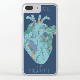 love to travel-world map 2 Clear iPhone Case