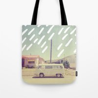 volkswagen Tote Bags featuring Volkswagen, New Mexico by Anna Dorfman