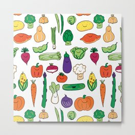Cute Smiling Happy Veggies on white background Metal Print