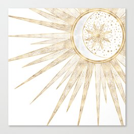 Elegant Gold Doodles Sun Moon Mandala Design Canvas Print