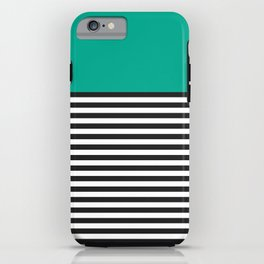 STRIPE COLORBLOCK {EMERALD GREEN} iPhone Case