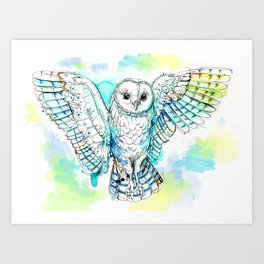 Winged Barn Owl Art Print