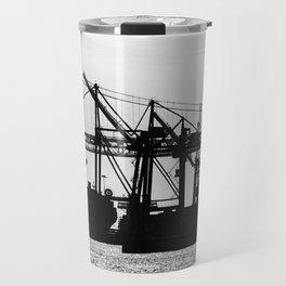 Metallic Architectures Docked Cargo Ships Travel Mug
