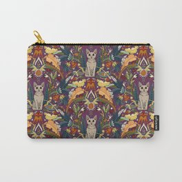 Peterbald cat damask purple Carry-All Pouch