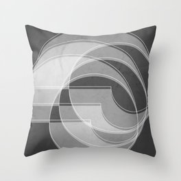 Spacial Orbiting Spiral in Charcoal Gray Throw Pillow