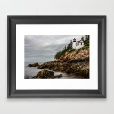 Travel Ocean Trees Bass Harbor Lighthouse Acadia National Park Framed Art Print