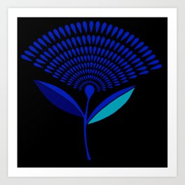 Mid Century Modern Dandelion Seed Head In Princess Blue Art Print