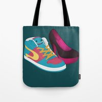 shoe Tote Bags featuring Shoe Lovin' by mrbiscuit