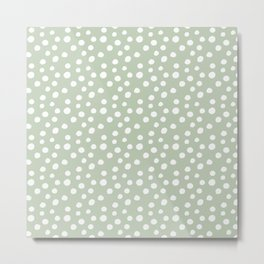 Light Olive Green & White Polka Dots Metal Print