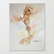 Giraffe and mummy watercolour Canvas Print